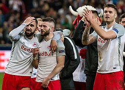 12.04.2018, Red Bull Arena, Salzburg, AUT, UEFA EL, FC Salzburg vs SS Lazio Roma, Viertelfinale, Rueckspiel, im Bild v.l. Munas Dabbur (FC Salzburg), Valon Berisha (FC Salzburg), Duje Caleta-Car (FC Salzburg) // during the UEFA Europa League Quaterfinal, 2nd Leg Match between FC Salzburg and SS Lazio Roma at the Red Bull Arena in Salzburg, Austria on 2018/04/12. EXPA Pictures © 2018, PhotoCredit: EXPA/ Stefan Adelsberger