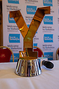 The mens Tour De Yorkshire trophy on display during the Eve of tour press conference ahead of the first stage of the Tour de Yorkshire in the Leeds Civic Hall, Leeds, United Kingdom on 1 May 2019.