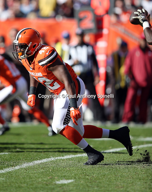 Cleveland Browns fullback Malcolm Johnson (42) makes a move during the 2015 week 8 regular season NFL football game against the Arizona Cardinals on Sunday, Nov. 1, 2015 in Cleveland. The Cardinals won the game 34-20. (©Paul Anthony Spinelli)