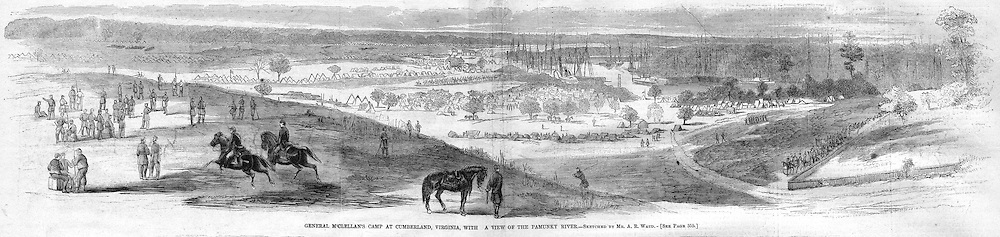 McClellan's camp at Cumberland, Vikrginia with the Pamunkey River. Civil War, 1862