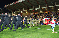 Members of Royal Tank Regiment and Bristol University Officer Training Corps parade at Ashton Gate - Mandatory by-line: Paul Knight/JMP - 05/11/2016 - FOOTBALL - Ashton Gate - Bristol, England - Bristol City v Brighton and Hove Albion - Sky Bet Championship