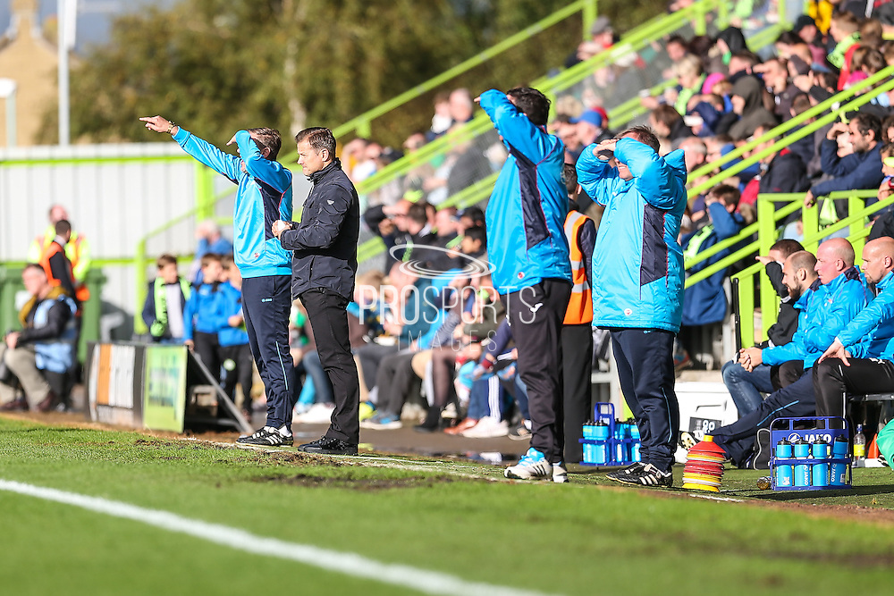 Forest Green Rovers manager, Mark Cooper and Forest Green Rovers assistant manager, Scott Lindsey during the Vanarama National League match between Forest Green Rovers and Barrow at the New Lawn, Forest Green, United Kingdom on 1 October 2016. Photo by Shane Healey.