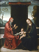St Anne, the Virgin and the Child'. St Anne was the mother of the Virgin Mary and grandmother of Jesus. Jean de Borgona the Second (c1500-1565). Oil on wood. Private collection.