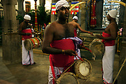 Drummers signal the commencement of a prayer session behind the closed doors of the inner chamber of the Temple of the Tooth, Royal Palace of Kandy.