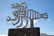 Crab sculpture by Cesar Manrique at Jameos de Aqua, Lanzarote, Canary Islands, Spain