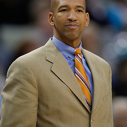 January 5, 2011; New Orleans, LA, USA; New Orleans Hornets head coach Monty Williams watches during the second half against the Golden State Warriors at the New Orleans Arena. The Warriors defeated the Hornets 110-103.  Mandatory Credit: Derick E. Hingle