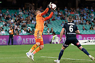 SYDNEY, AUSTRALIA - APRIL 06: Melbourne Victory goalkeeper Matt Acton (1) saves a goal at round 24 of the Hyundai A-League Soccer between Sydney FC and Melbourne Victory on April 06, 2019, at The Sydney Cricket Ground in Sydney, Australia. (Photo by Speed Media/Icon Sportswire)
