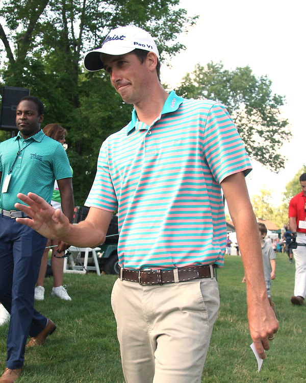 Chesson Hadley greets the crowd after returing to the green for award ceremony after winning the LeCom Health Challenge Web.com PGA Tour at Peek n Peak July 9, 2017 photo by Mark L. Anderson