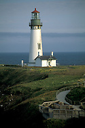 Yaquina Head Lighthouse, 1872 tallest on the Oregon Coast, over the Pacific Ocean, near Newport, Oregon.