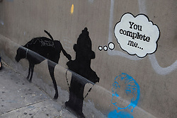 Banksy Defaced in New York. British graffiti artist has valuable street artworks vandalized in New York.<br />
