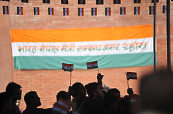 August 15, 2017 - Kathmandu, NP, Nepal - A Nepalese volunteer distributing miniature tricolor India Flag to the people during celebration of India's 71st Independence Day at Kathmandu, Nepal on Tuesday, August 15, 2017. (Credit Image: © Narayan Maharjan/NurPhoto via ZUMA Press)