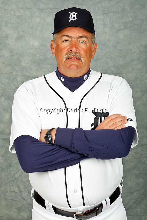 February 28, 2012; Lakeland, FL, USA; Detroit Tigers pitching coach Jeff Jones (51) poses for photo day in the rec room at the Detroit Tigers Headquarters.  Mandatory Credit: Derick E. Hingle-US PRESSWIRE