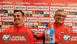 August 31, 2017 - Copenhagen, Denmark - Arkadiusz Milik (POL) and Adam Nawalka (POL), during press conference before FIFA World Cup 2018 qualifier MD-1 between Denmark and Poland at Parken Stadium in Copenhagen, Denmark on 31 August 2017. (Credit Image: © Foto Olimpik/NurPhoto via ZUMA Press)