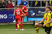 Macauley Bonne of Leyton Orient (9) scores a goal and celebrates to make the score 0-1 during the Vanarama National League match between Harrogate Town and Leyton Orient at Wetherby Road, Harrogate, United Kingdom on 22 September 2018.