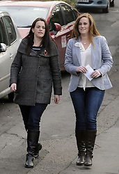 © Licensed to London News Pictures. 20/11/2014<br /> Conservative candidate Kelly Tolhurst walks to her local polling station Borstal Village Hall,Borstal,Wouldham Road,Kent. with her sister Katie Tolhurst.<br /> <br /> Rochester and Strood Parliamentary By-Election polling day, today (20.11.2014) in Kent.<br /> <br /> (Byline:Grant Falvey/LNP)