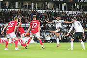 Derby County defender Max Lowe (25) shoots at goal during the EFL Sky Bet Championship match between Derby County and Bristol City at the Pride Park, Derby, England on 20 August 2019.