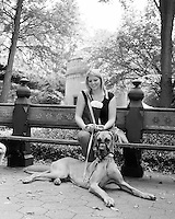 "Young Woman and Her Great Dane Puppy I met at the event ""My Dog Loves Central Park"" in October of 2013"