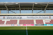 "Sixfields stadium East stand showng ""building for the future"" logo during the Sky Bet League 2 match between Northampton Town and Crawley Town at Sixfields Stadium, Northampton, England on 19 April 2016. Photo by Dennis Goodwin."