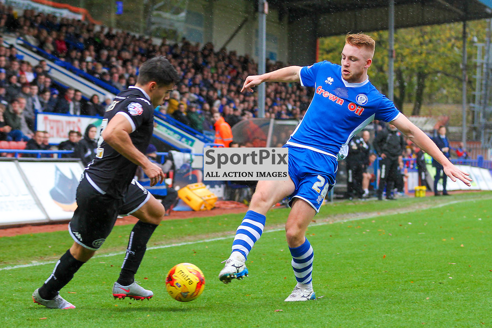 Calum Camps in action with Reece James during Rochdale v Wigan Athletic , Sky Bet League One Match, 14 November 2015<br /> Picture by Jackie Meredith/SportPix.org.uk