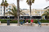 La Pepita Restaurant is one in a row of beach side cafes in Valencia, Spain.