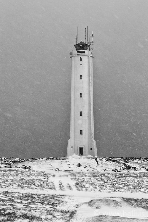 Lighthouse at Londrangar, Snaefellsnes, Iceland - Viti að Lóndröngum, Snæfellsnesi