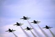 6 Blue Angels U.S. Navy fighter planes flying close together in V-formation; motion; precision; speed, Florida Air Show; Punta Gorda; FL