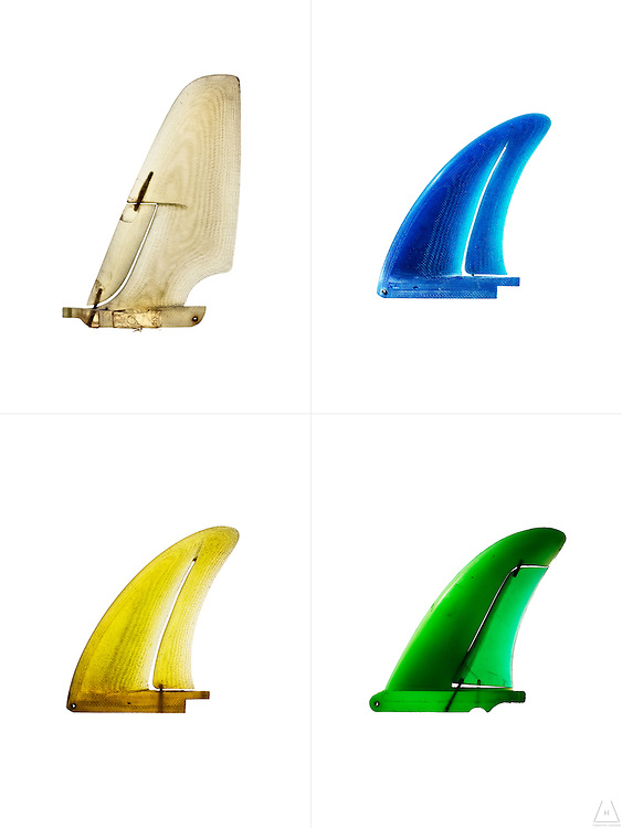 Articulated Edge Fins. 1970's Prototype single surfboard fins from the collection of Larry Allenson.