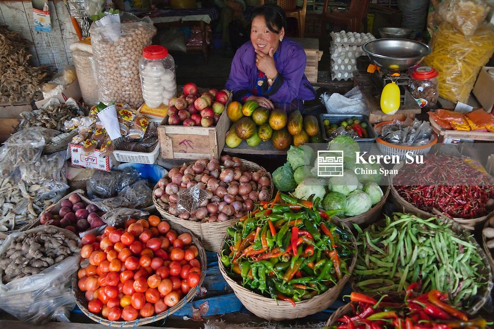 Local produce market, Bumthang, Bhutan