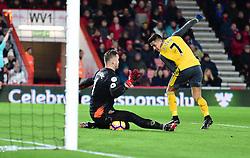 Alexis Sanchez of Arsenal shot is blocked by Artur Boruc of Bournemouth - Mandatory by-line: Alex James/JMP - 03/01/2017 - FOOTBALL - Vitality Stadium - Bournemouth, England - Bournemouth v Arsenal - Premier League