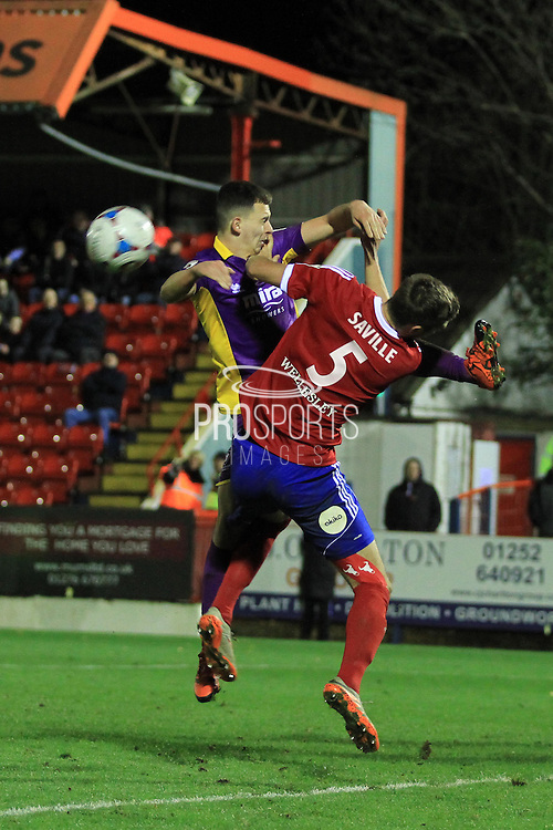 Ryan Jennings and Jack Saville during the Vanarama National League match between Aldershot Town and Cheltenham Town at the EBB Stadium, Aldershot, England on 28 November 2015. Photo by Antony Thompson.