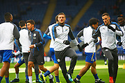 Leicester City forward Jamie Vardy (9) warms up during the Premier League match between Leicester City and Manchester City at the King Power Stadium, Leicester, England on 18 November 2017. Photo by John Potts.