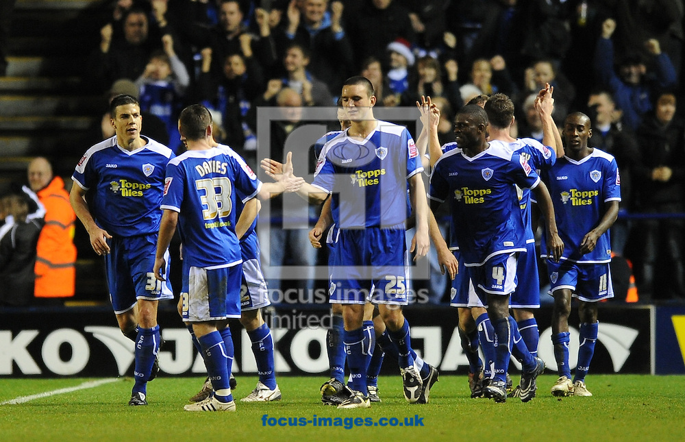 Leicester - Saturday December 22th, 2008: Leicester City players celebrate their 3rd goal during the Coca Cola League One match at The Walkers Stadium, Leciester. (Pic by Alex Broadway/Focus Images)