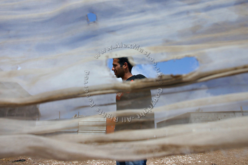 A young man walking in the unrecognised village of Tarrabin el Sana, close to BeerSheva, the capital of the Negev, a large deserted area in the south of Israel. The village, bordering the wealthy Israeli settlement of Omer, is surrounded by barbed wire and bound to be demolished as it is deemed illegal by the authorities, willing to further expand Omer's borders.  Numbering around 200.000 in Israel, the Bedouins constitute the native ethnic group of these areas, they farm, grow wheat, olives and live in complete self sufficiency. Many of them were in these lands long before the Israeli State was created and their traditional lifestyle is now threatened by subtle Governmental policies. The seven Bedouin towns already built are all between the 10 more impoverished towns in Israel..
