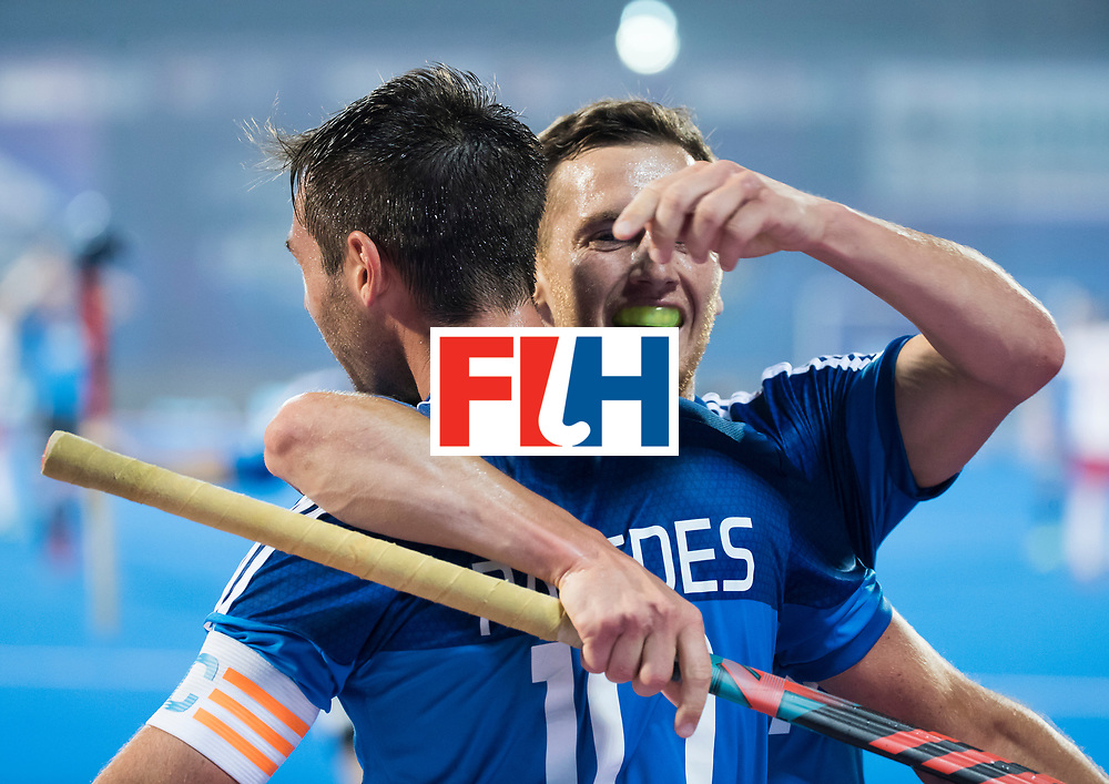 Odisha Men's Hockey World League Final Bhubaneswar 2017<br /> Match id:14<br /> England v Argentina , Quater Final<br /> Foto: Matias Paredes (Arg) scored and celebrates the goal with Lucas Vila (Arg) .<br /> WSP COPYRIGHT KOEN SUYK
