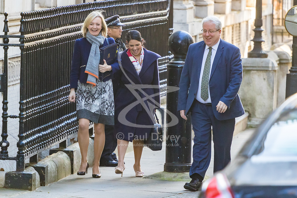 Downing Street, London, October 11th 2016. Government ministers arrive for the first post-conference cabinet meeting. PICTURED: Justice Secretary and Lord Chancellor Liz Truss (left), International Development Secretary Priti Patel, and Chancellor of the Duchy of Lancaster Patrick McLoughlin.