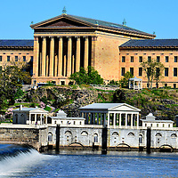 Museum of Art, Fairmount Water Works and Schuylkill River in Philadelphia, Pennsylvania<br />