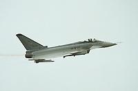 06 JUN 2000, BERLIN/GERMANY:<br /> EUROFIGHTER EF 2000, zukünftiges Jagdflugzeug der Bundesluftwaffe, im Flug, Internationale Luftfahrausstellung, ILA 2000 <br /> IMAGE: 20000606-01/03-33<br /> KEYWORDS: Flugzeug, plane, Armee, army, Bundeswehr, Waffe, wappon