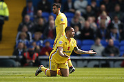 MK Dons midfielder Samir Carruthers (14)  pleads for a free kick during the Sky Bet Championship match between Ipswich Town and Milton Keynes Dons at Portman Road, Ipswich, England on 30 April 2016. Photo by Simon Davies.