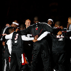 March 3, 2011; Miami, FL, USA; Miami Heat players huddle up prior to tip off of a game against the Orlando Magic at the American Airlines Arena.    Mandatory Credit: Derick E. Hingle