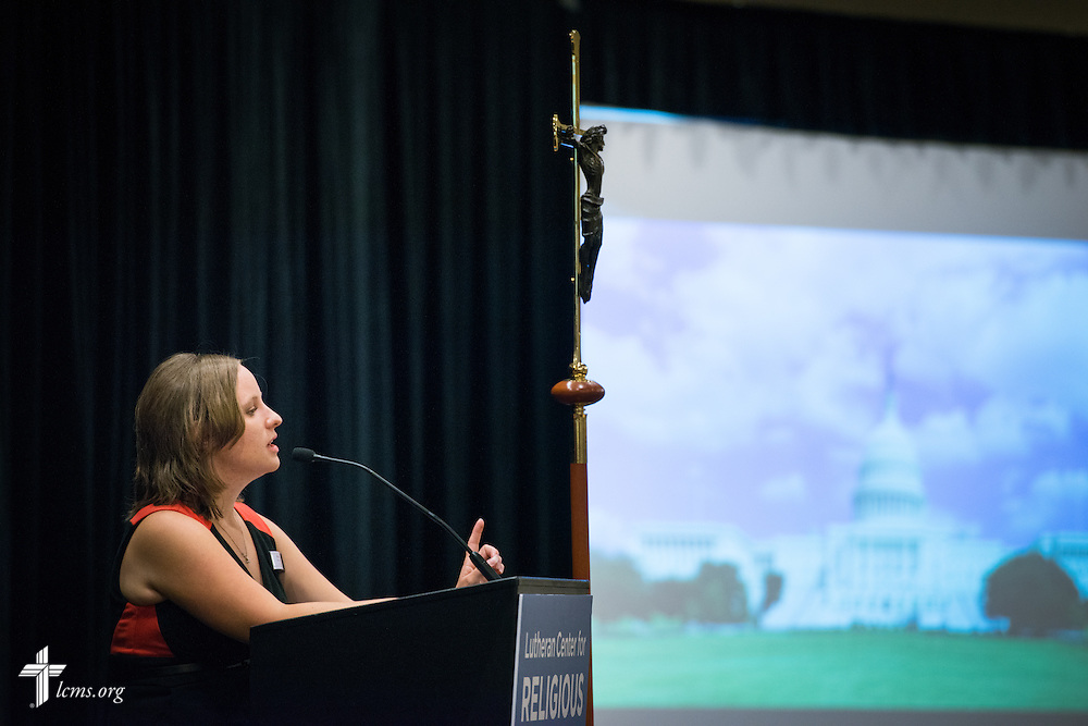 Becky Rogness, former communications director with Indiana Right to Life, speaks during the Let's Talk Life, Marriage and Religious Liberty event on Wednesday, Sept. 9, 2015, in Washington, D.C. LCMS Communications/Erik M. Lunsford