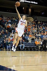 UVA's Brenna McGuire (10) shoots a lay up in action against Wake Forest University.  The Cavaliers defeated the Demon Deacon 77-71 on January 11, 2007 for their first ACC win in the John Paul Jones Arena in Charlottesville, VA.<br />