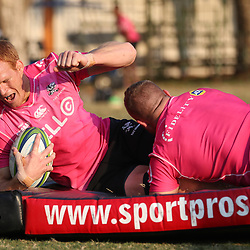Akker van der Merwe of the Cell C Sharks tackling Philip van der Walt of the Cell C Sharks during the Cell C Sharks training, Jonsson Kings Park Stadium,Durban South Africa.27,06,2018 Photo by (Steve Haag REX Shutterstock )