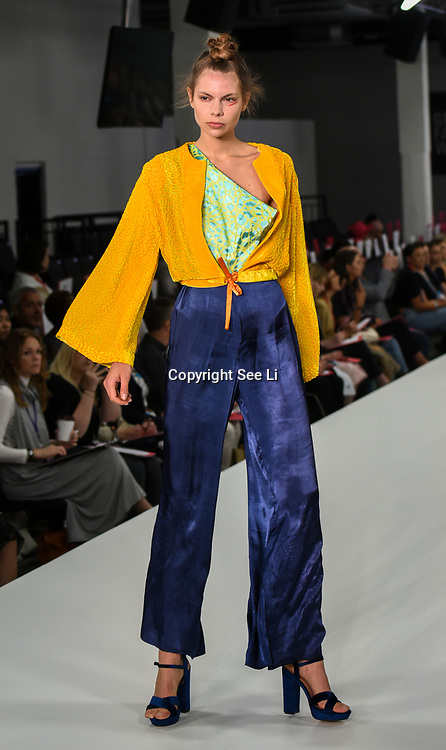 Designer Mesoni Lindsay showcases it lastest collection at the Graduate Fashion Week 2018, 4 June 4 2018 at Truman Brewery, London, UK.