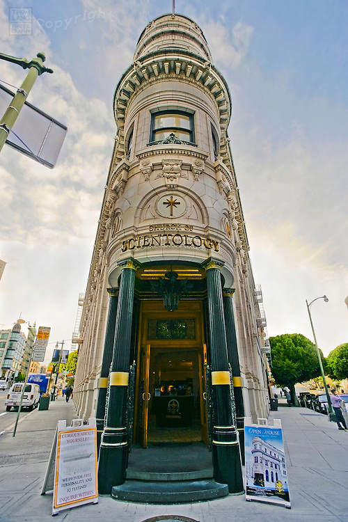 Entrance to the Church of Scientology Building in San Francisco. The triangular shaped building, at 701 Montgomery St. in the financial district of San Francisco, is the first Transamerica building.
