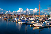 Evening light on boats in the Ventura Harbor, Ventura, California USA