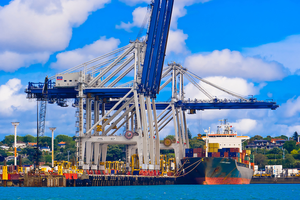Port of Auckland from Auckland Harbor, Auckland, New Zealand