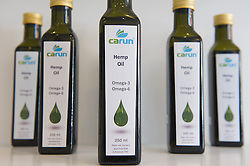 © London News Pictures. 15/05/15. London, UK. Hemp oil on sale at the UK's first cannabis pharmacy, Twickenham, West London. Carun UK, which will be based in Twickenham, London, aims to 'harness the healing super-powers of hemp' which is claims is the 'ultimate skin saviour and well-being booster'.<br />