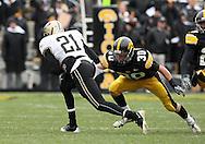 15 NOVEMBER 2008: Purdue wide receiver Greg Orton (21) tries to get around Iowa defensive back Brett Greenwood (30) in the second half of an NCAA college football game against Purdue, at Kinnick Stadium in Iowa City, Iowa on Saturday Nov. 15, 2008. Iowa beat Purdue 22-17.