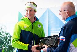Zan Kosir and Bogdan Gabrovec during Arrival of Zan Kosir, Bronze medalist at Olympic Games in Pyeongchang 2018, on February 26, 2018 in Aerodrom Ljubljana, Letalisce Jozeta Pucnika, Kranj, Slovenia. Photo by Ziga Zupan / Sportida