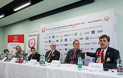 18.03.2017, Congress, Schladming, AUT, Special Olympics 2017, Wintergames, Eröffnungs-Pressekonferenz, im Bild das Podium, v.l. Grace VanderWaal, Jason Mraz, Johanna Pramstaller, John Skipper, Markus Pichler, Timothy Shriver // during the opening press conference in the congress center at the Special Olympics World Winter Games Austria 2017 in Schladming, Austria on 2017/03/17. EXPA Pictures © 2017, PhotoCredit: EXPA / Martin Huber